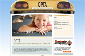 OPTA decided to use the front of a bus as the main graphic on its new website. The student safety lights illuminate when a user passes over them with the cursor.