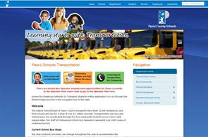 Pasco County Schools includes bus safety videos on its transportation web page that can be used by its schools during morning announcements.