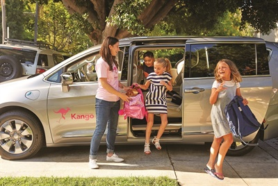 Children's ridesharing company Kango offers a shuttle service option that schools can use to transport up to six students for carpool rides and/or after-school and field trips. Photo courtesy Kango