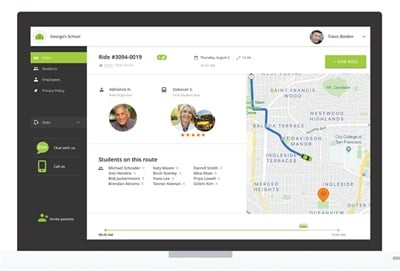 Shown here is the Zum ride dashboard, which allows school administrators and parents to monitor the progress of a ride after it has been requested. Photo courtesy Zum