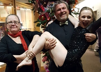 "When their daughter Abby performed in the ballet ""The Nutcracker,"" Barry Sudduth and his wife, Mary, took part in the dancing as party parents. They are seen here after one of Abby's recitals."