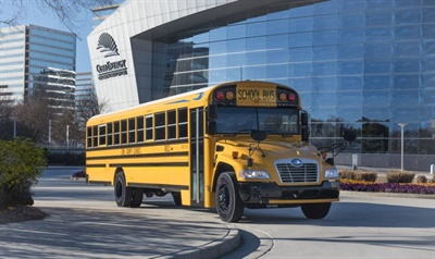 Horlock says that sales of Blue Bird's Vision Gasoline school bus have surpassed the company's expectations. Customers like its lower purchase price, simpler maintenance, and cold-weather performance, according to Horlock.