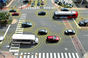 Connected vehicle technology, or v2v, enables vehicles to communicate with each other and/or the infrastructure by radio signals or Wi-Fi signals about their speed, location and direction 10 times a second to prevent crashes. Photo by ITS America.