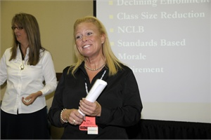 Alexandra Robinson (right) has headed many presentations at NAPT conferences. Also pictured is Launi Schmutz, director of transportation at Washington County School District in St. George, Utah. Photo by Jaime Gallego.