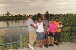 Nicole Portee (third from left)'s family includes (from left) son Tramayne, grandson Elija, husband David, daughter Breona, son Quincy, grandson Quinn and grandson Tahj (not pictured).