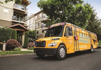 "We believe that electric school buses are now the future of the pupil transportation industry,"" Hedgecock says. Shown here is Thomas Built Buses' Saf-T-Liner C2 Jouley electric school bus. Photo courtesy Thomas Built Buses"
