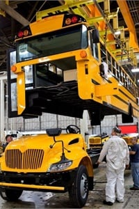 Manufacturers such as IC Bus often come up with new solutions that can benefit customers and communicate those to their dealers. Shown here is an IC Bus CE Series being made for a customer in Texas.