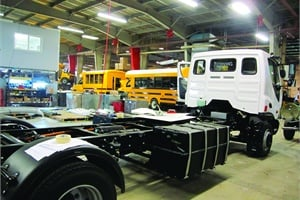 Smith Electric Vehicles' Newton chassis will undergo modifications as Trans Tech Bus engineers prepare it to receive Trans Tech's aerodynamic body.