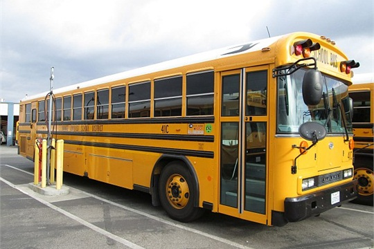 Orange USD has been applying for and receiving grants to replace its older diesel buses with new compressed natural gas models, as seen here.