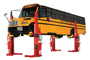 Rotary Lift's MACH 4 mobile column lift is equipped with retractable cord reels.
