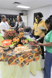 At Shadowlawn Middle School, the staff holds an appreciation event with food, goodie bags and T-shirts for the bus drivers