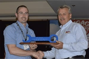 Kirk Brooks (left) of Indiana, shown here with Marshall Casey, placed first in the school bus technician category of the America's Best competition.