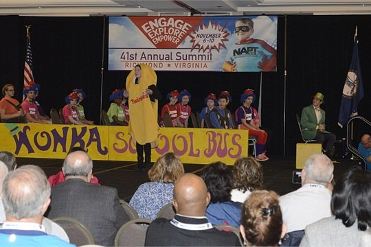 Theater students from Montgomery County (Va.) Public Schools present a Willy Wonka-themed school bus safety play that they performed as part of Love the Bus month in February.