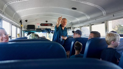 Every summer, the transportation department hosts the First Time Riders program, which is geared toward getting kindergartners excited to ride the bus for the first time.
