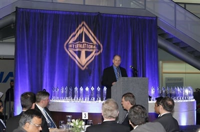 Dave McKean, chief procurement officer for Navistar, addressed this year's Diamond Supplier Award recipients at a ceremony held at the company's headquarters in Lisle, Illinois, on Feb. 13. Photo by Adrian Dinu