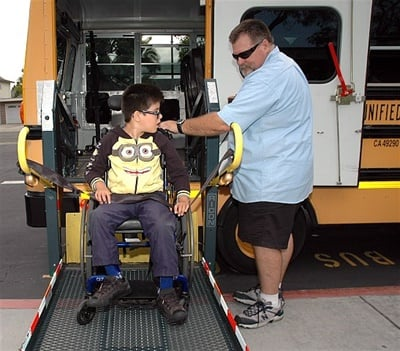 wheelchair lift bus. Beautiful Lift Unified School District Bus Driver Steve Black Operates Throughout Wheelchair Lift Bus