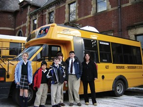 Monroe-Woodbury bus driver Jeanine Peck (right) transports students to Tuxedo Park School, a non-public school in the Ramapo Mountains in Orange County, N.Y.