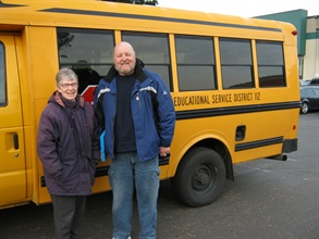 Bonin says turnover at the cooperative is low, and its employees enjoy the work that they do. Pictured are bus attendant Ann Crowley-Hash and driver Randy Wiktorek.