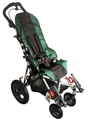 Shown here is a pediatric wheelchair with a five-point integrated harness. Photo courtesy of Convaid Inc.