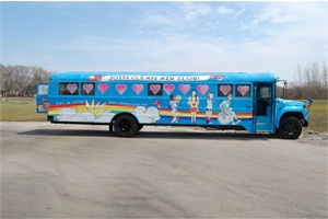 Cook-Illinois' Clean Air Club Bus is a mobile museum that teaches children to be environmentally conscious. The 45-foot, brightly colored bus runs on biodiesel and has interactive exhibits.