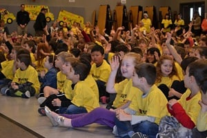 "At ASBC's Love the Bus 2016 main event, students at Cosumnes River Elementary in California wore yellow T-shirts and, at one point, screamed ""We love the bus!"""