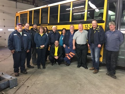 Kanawha County Schools in West Virginia has been equipping buses with Fogmaker fire suppression systems. Seen here, maintenance staff and supervisors went through training during installation.