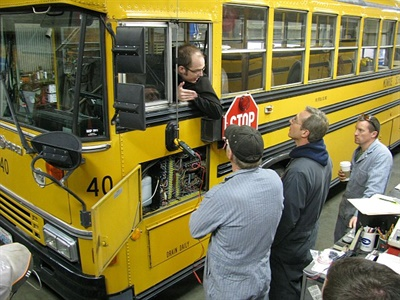 A school bus driver who also works in the shop can enhance communication between mechanics and drivers, keeping both abreast of vehicle particulars. Photo courtesy Zonar