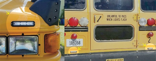 The small-but-bright LED units are positioned above the bumper, with two on the front of the bus and two on the rear.