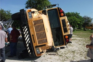 For a training exercise to help technicians learn how to properly recover, secure and tow a school bus after an accident, officials at Brevard Public Schools in Cocoa, Fla., staged a bus on its side. Local agencies, such as the fire and rescue department, were invited to participate.