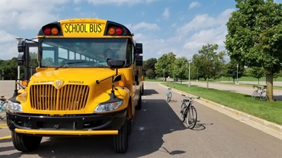 In one exercise, bicycles were placed around a school bus to demonstrate where they could be hiding in a blind spot. Photo courtesy David Rank