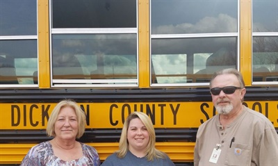 Dickson County Schools is working to improve student behavior by placing monitors on some buses as needed. From left: Melissa Garton, transportation coordinator; bus monitor Beth Meadows; and bus driver Steve Manley.