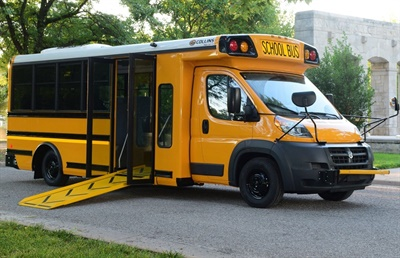 Since launching the Low-Floor Bus (pictured here) in 2017, Collins has reduced the turning radius, made changes to optimize seating, and included a battery compartment with external access.