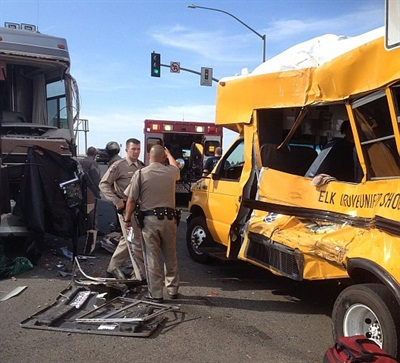 In October, a motorhome ran a red light and broadsided an Elk Grove bus. The four special-needs students on the bus, all wearing seat belts, were not injured.