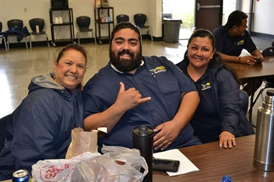 Drivers eat lunch and share a few laughs in the lounge. Elk Grove has 160 drivers and is aiming to recruit about 20 more.