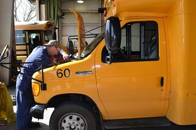 The shop crew maintains Elk Grove's 200-bus fleet and another 325 district vehicles.