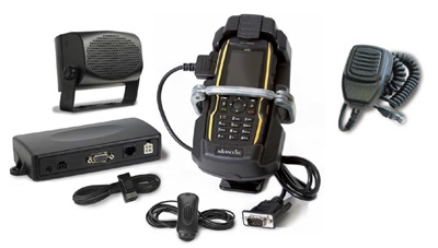 AT&T offers Enhanced Push-to-Talk accessories that include a rugged device that can be mounted and locked, a speaker box, a hand mic, and a foot pedal.