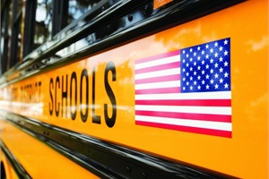 Ross says the American flag is on both sides of the School District of Manatee County's buses to show support for the district and individuals who are serving the country.