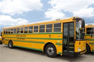Parkway acquired 30 Thomas Built CNG buses, all easily identified by their bright green rub rails.