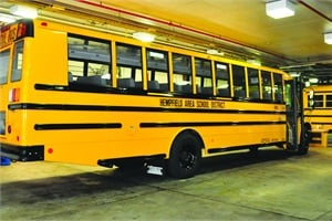 This 2012 Thomas Built Saf-T-Liner C2is among First Student's buses that serve Hempfield Area School District.