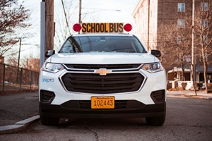 Massachusetts' 7D regulation applies to smaller vehicles that are hired to transport students on fixed routes. Seen here is one of Sheprd's 7D vehicles, a Chevy Traverse.