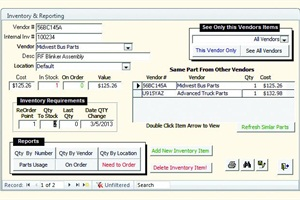 Bus Master Pro 6.2 Geocode Inventorymaintenance software includes modulesfor work orders, inventory and vendors, among others.