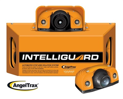 The IntelliGuard Automated Stop Arm Violation System uses an overview camera and three cameras inside the main unit to capture images of the side, front, and rear of a passing vehicle.