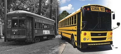 For many decades, Thomas Built Buses' bread and butter has been yellow school buses, but the business began as a manufacturer of another utilitarian form of transportation: streetcars.