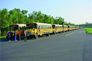 Trained school bus drivers often respond to evacuation missions. Pictured here, Houston Independent School District sent 142 buses to New Orleans to help with evacuation and relief efforts in the days after Hurricane Katrina in 2005.