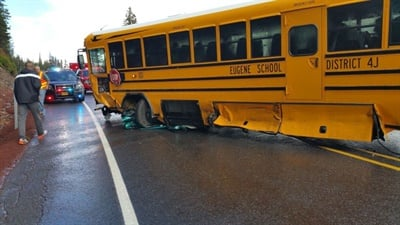 In September 2015, one of Eugene's yellow charter buses was struck by a pickup truck. The truck driver was killed, but the students and bus driver suffered only minor injuries.