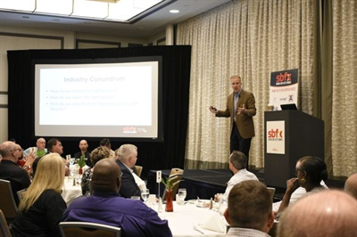 School Bus Fleet ConneX (SBFX) will convene in Scottsdale, Ariz., from April 22 to 24, 2020. Shown here is a roundtable discussion at the inaugural edition of SBFX, which was held in Miami, Fla., in April 2019.
