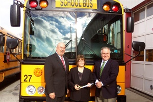 Rose Tree Media School District recently saved over $10,000 on fuel with its CNG buses. Shown here left to right: James Wigo, superintendent of schools; Grace Eves, director of management services; and school board President John Hanna.