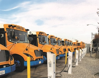 EV Connect offers both Level 2 and Level 3 charging options for school buses. Shown here are Level 2 charging stations for Twin Rivers Unified School District in McClellan Park, California.