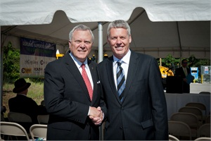 Georgia Gov. Nathan Deal (left) and Blue Bird President and CEO Phil Horlock are pictured here at an event to hand over the keys to 20 Propane-Powered Vision buses to Hall County (Ga.) Schools.