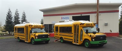 Kings Canyon Unified School District in California put two Trans Tech SSTe Type A buses into operation on special-needs routes in 2014, and soon after, ordered two more, shown here. They were delivered in March.